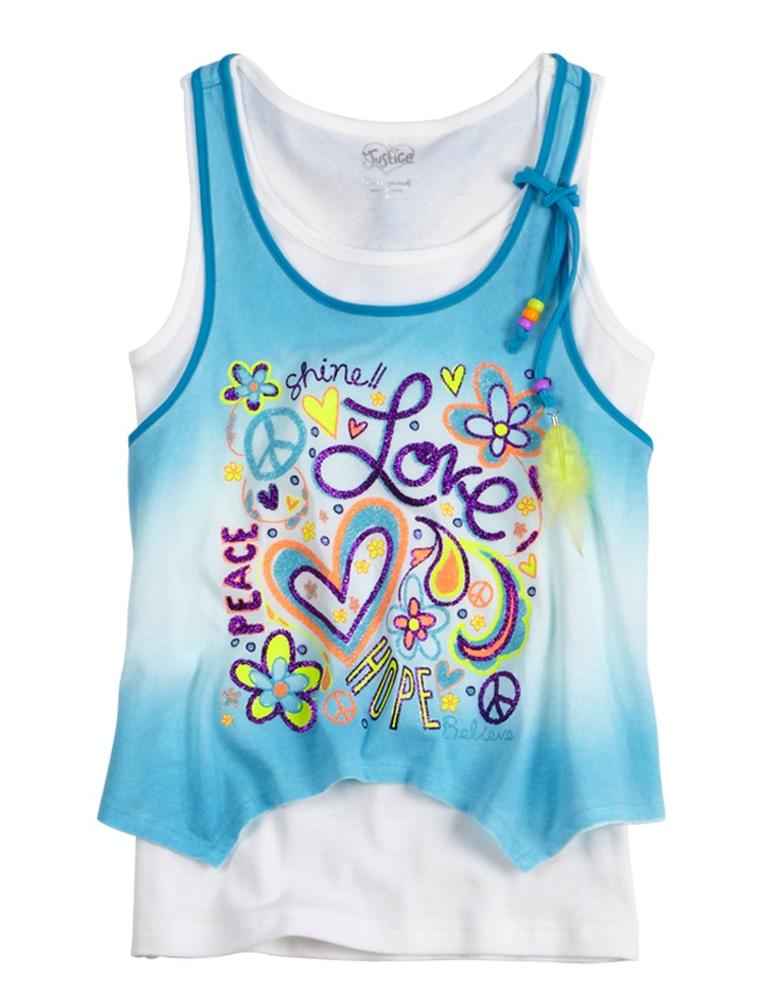 Girls Clothing | Tanks & Bandeaus | Flowy Poster Art 2fer Tank | Shop Justice