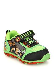 Ben 10 presents running shoes for boys. The upper and lining of these green coloured running shoes are made from synthetic material, to provide durability. The sole is made from EVA (ethylene vinyl acetate) to provide comfort while running. Definitely a must-have in his sports kit!