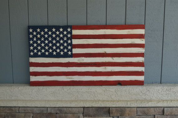 "Large American Flag - Reclaimed Wood - Distressed - Authentically Designed 25"" x 47"" - Porch Sign - Outdoor Use -"