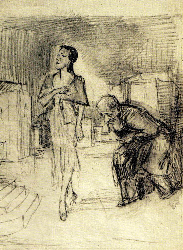 Kobieta i pochylony starzec