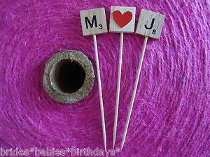 Wooden Scrabble Letter Wedding Engagement Birthday Cake Topper Personalised XL | eBay