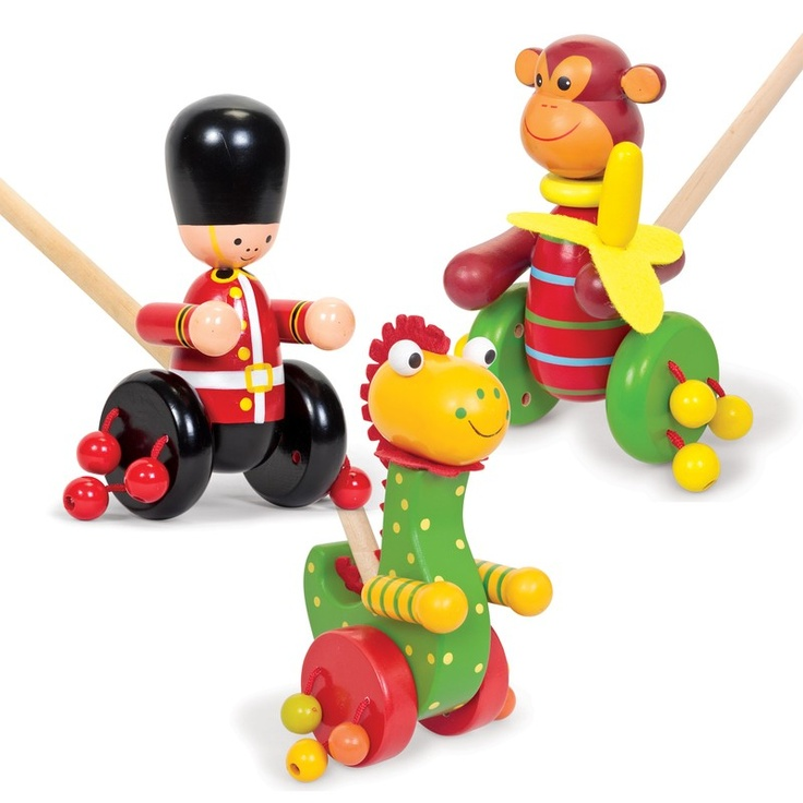 Adorable wooden push along toys with clackety beads on each wheel. Available in three loveable designs.