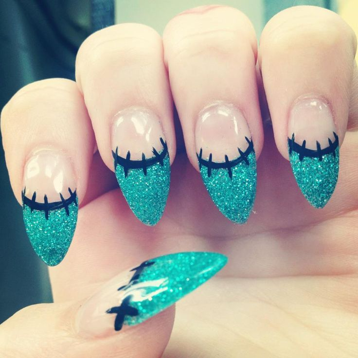Beautiful Frankenstein nails, go with the pointed nail trend to be sexy and deadly this halloween