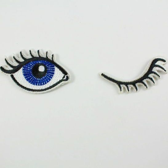 Wink Set of 2 Embroidered Patches / Iron-On Appliques - Winking Eyes - Darby Smart