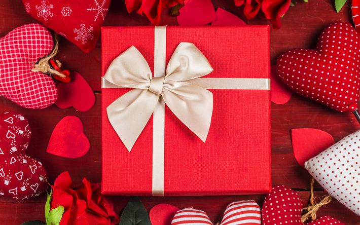 Download wallpapers Valentines Day, gift, red gift box, beige silk bow, red hearts, February 14