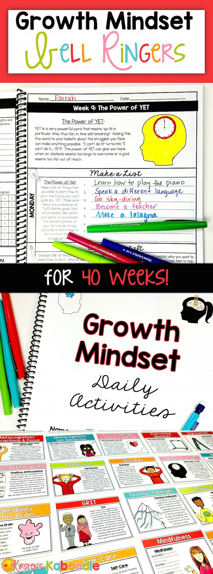 These DAILY growth mindset bell ringer activities are perfect for teachers who are looking for quick, easy to use, information-packed daily growth mindset instruction. These 200 activities, which span across 40 weeks, will give you everything you need to teach your 4TH GRADE AND UP classroom about all things growth mindset! #growthmindset #bellringers