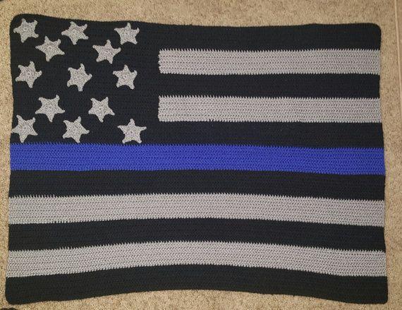 Thin Blue Line Throw blanket by kymberknits on Etsy