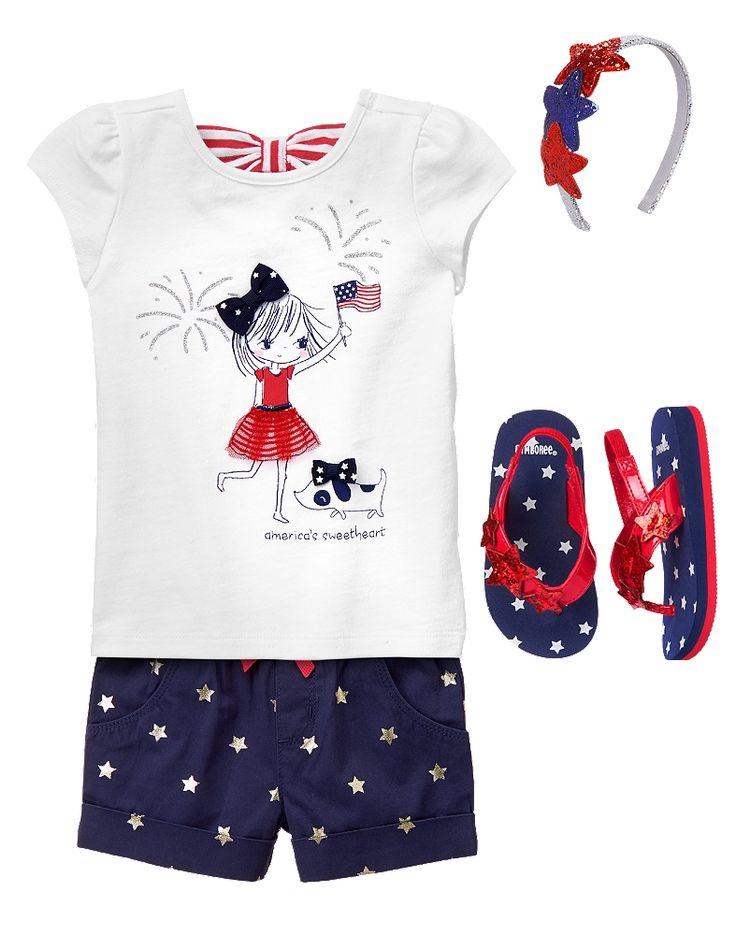 Gymboree Toddler Girl Red White & Cute Little Sparkler Outfit