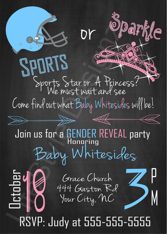 Sports or Sparkle Gender Reveal Invitation,Chalkboard Invite, Football or Princess, Baby Shower Invite
