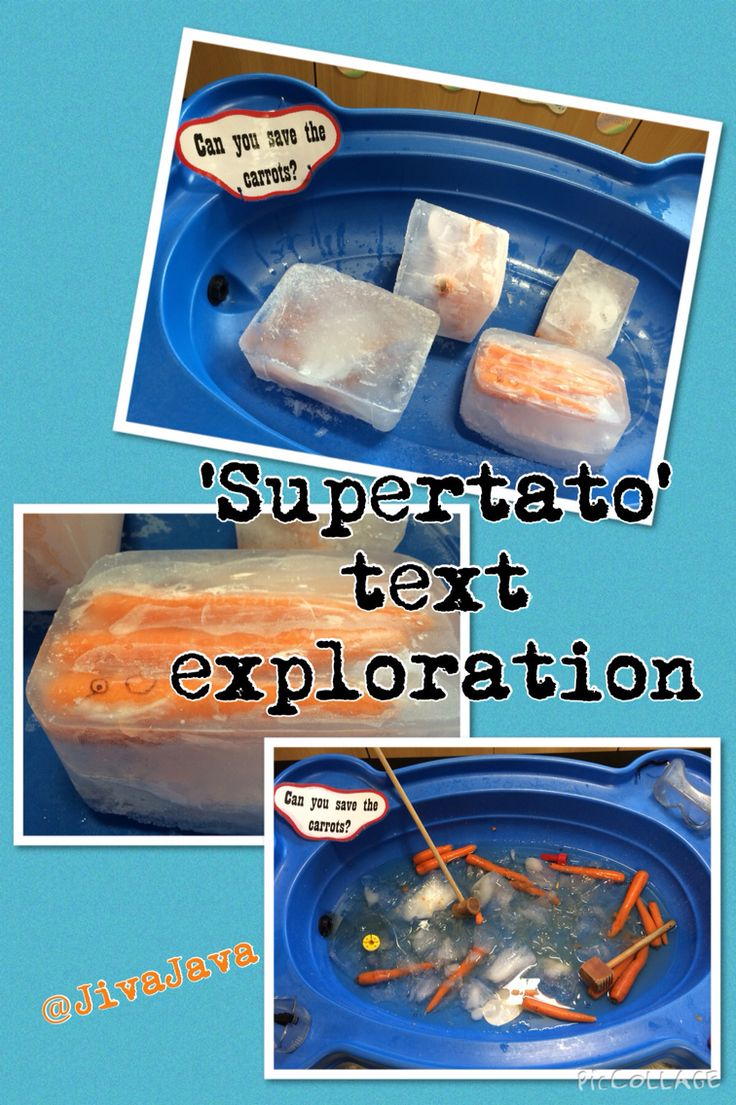 After reading the text 'Supertato' the evil peas took the carrots hostage and froze them in ice! Children explored helping to free them using mallets and goggles.