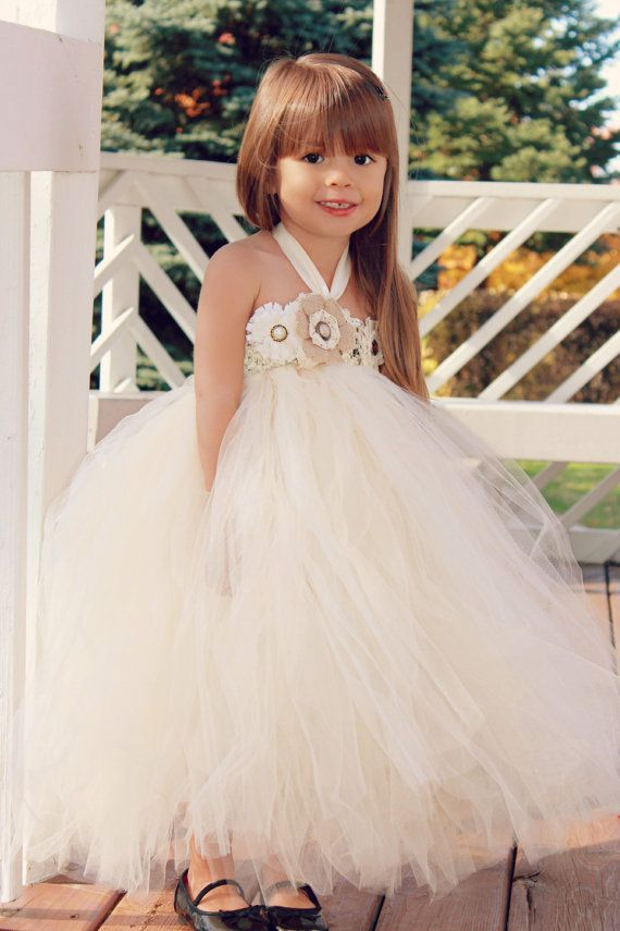 Country Couture Flower Girl Tutu Dress/ Shabby Chic Wedding/ Rustic Wedding/ Country Wedding