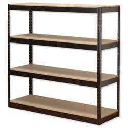 Product 414598, Description: Influx Archive Shelving Unit Heavy-duty Boltless 4 Shelves Capacity 4x 100kg W1320xD450xH1315mm Black