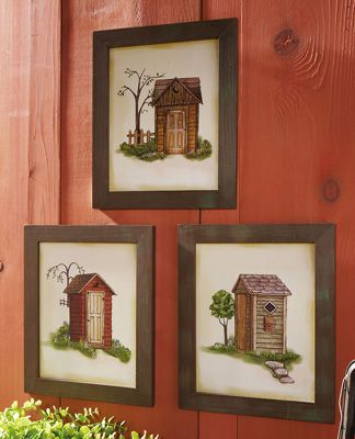 Outhouse Bathroom Print Trio