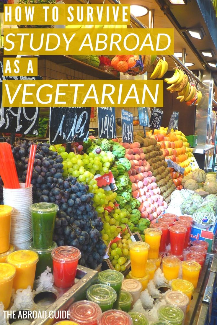 Vegetarians studying abroad-- here's how to survive studying abroad as a vegetarian. How to stay healthy, how to communicate that you're a vegetarian during your semester abroad, and other tips to help you stick to your vegetarian-ism.