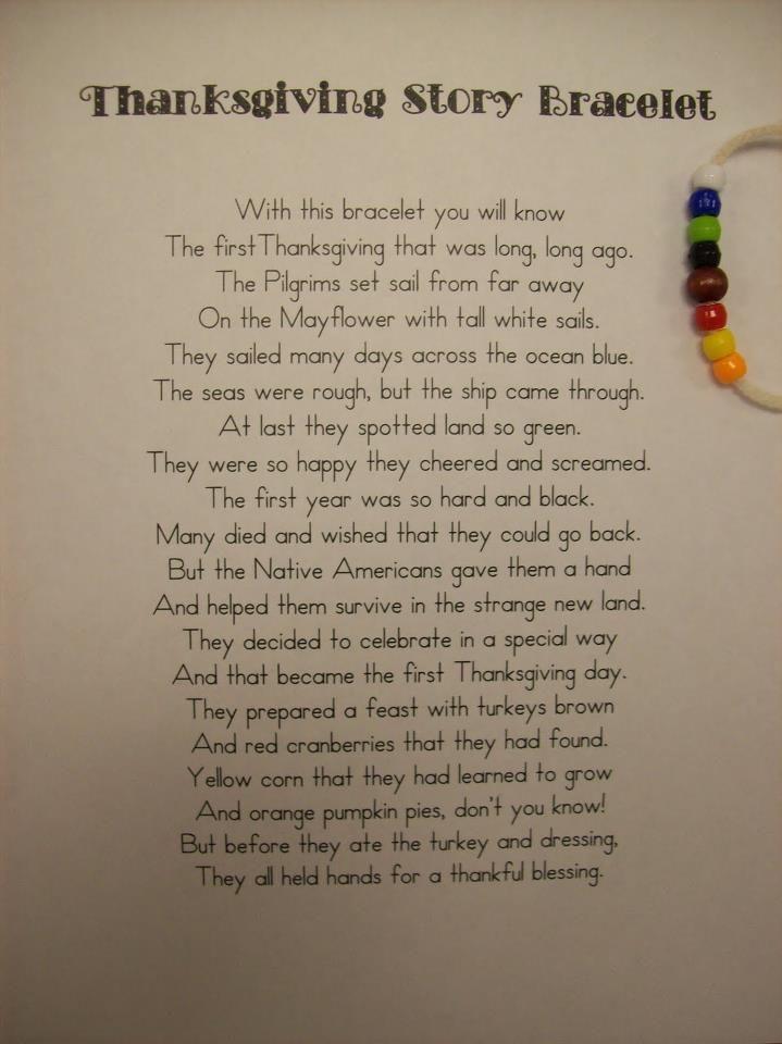 first thanksgiving story bracelet