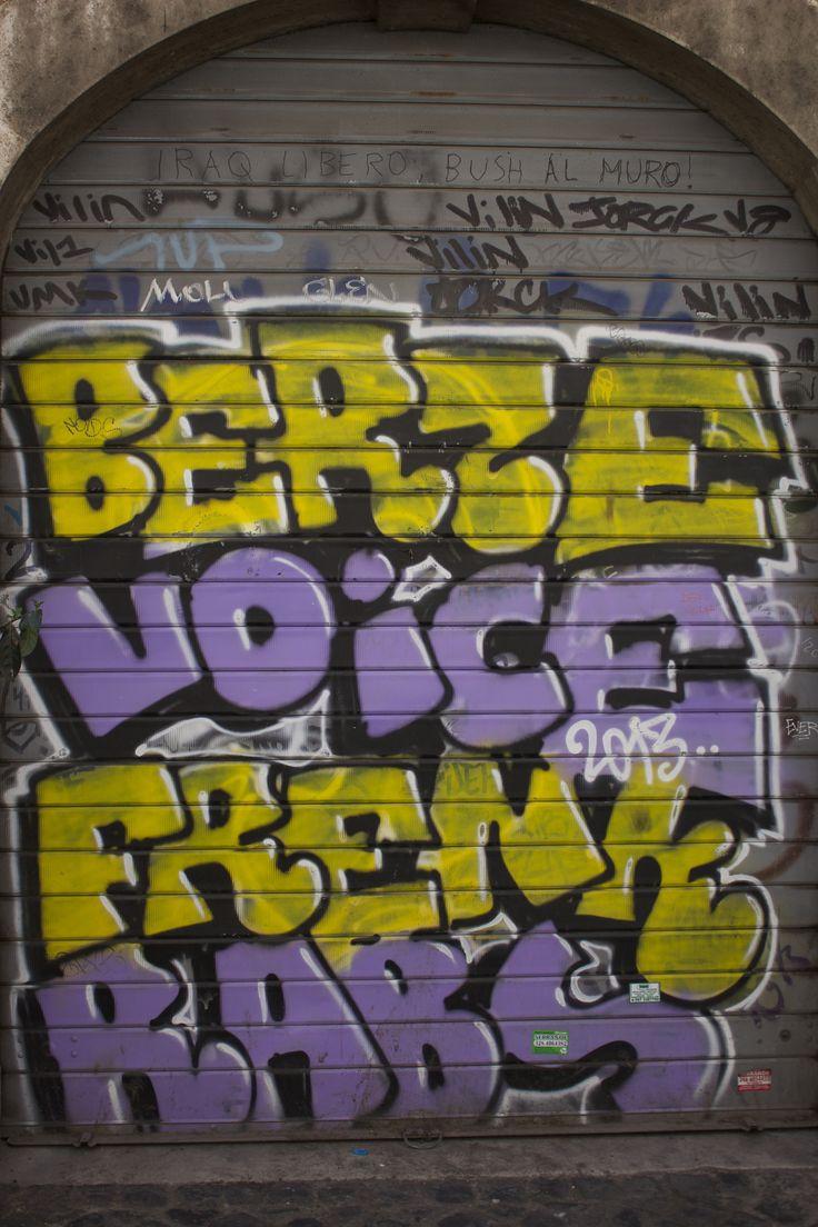 Street art - Rome, Italy #yellow #purple #street #rome