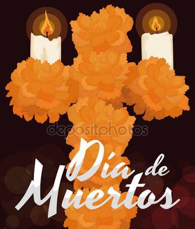 "Floral Cross with Marigold Flowers for ""Dia de Muertos"" Celebration"