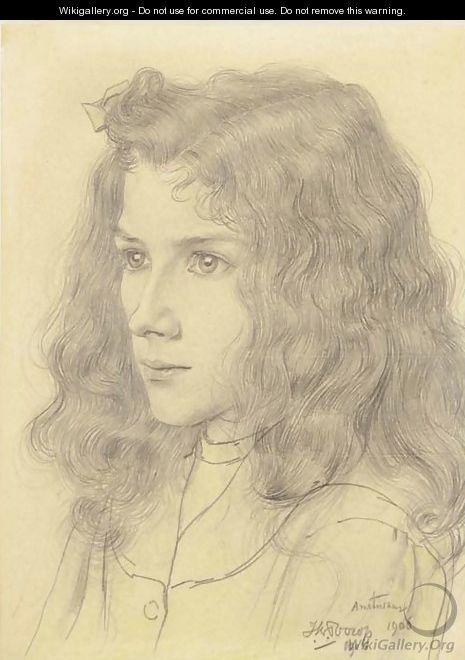 Jan Toorop, Meisjeskopje (Portret van Jopie Jurriaan Kok)
