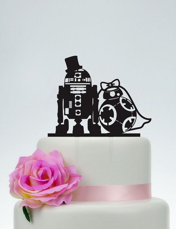Torta de bodas, torta de Star Wars, R2D2 y Bb8 topper de la torta, acrílico personalizados de la torta, la torta de amor, Star Wars silueta P152