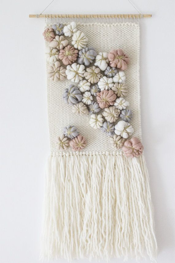 Woven tapestry wall hanging | Woven wall weaving | Nursery wall tapestry decor |Fiber art|Baby shower gift | Grey pink nude white wall decor