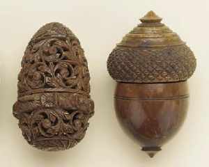 19th c. coquilla nut pomander and nutmeg grater....INTERESTING