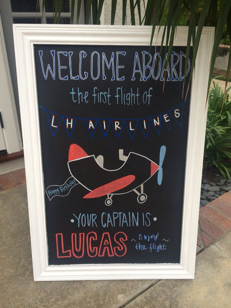 Airplane 1st Birthday chalkboard sign