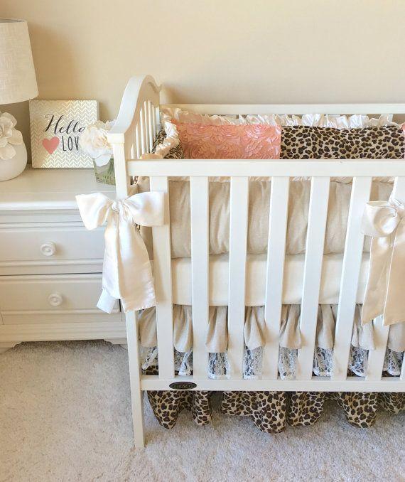 Ruffled Crib Skirt Linen Crib Skirt Baby Dust by RitzyBabyOriginal