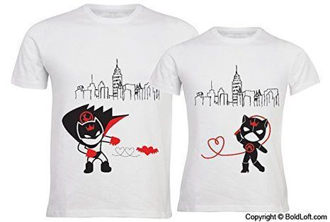 """BOLDLOFT® """"We Are Irresistibly Attracted"""" His and Hers Couple T Shirts in White-Couple Shirts for Boyfriend & Girlfriend,His and Hers Shirts for Husband & Wife,Couple Gifts,His and Hers Gifts: Wedding gift"""