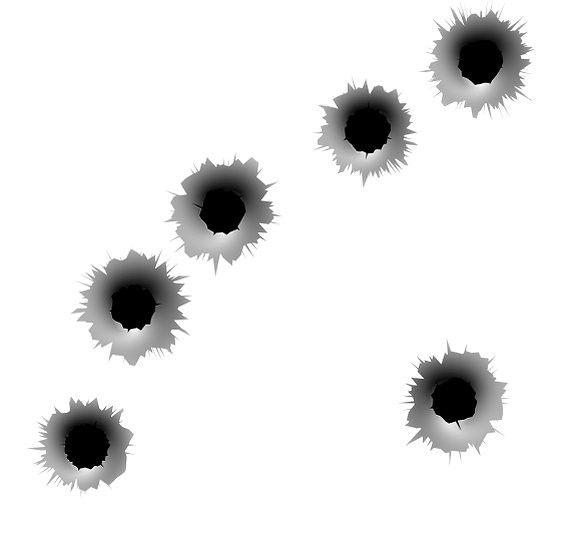 Bullet Holes In Metal Target Bullet