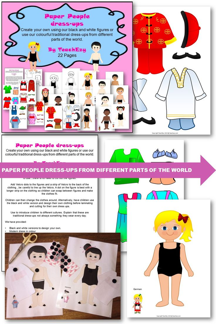 Create your own using our black and white figures or use our colourful traditional dress-ups from different parts of the world.  we have provided:  Black and white versions to design your own. Modern dress in colour Indian boy and girl Japanese boy and girl German boy and girl Ukrainian boy and girl African boy and girl Chinese boy and girl