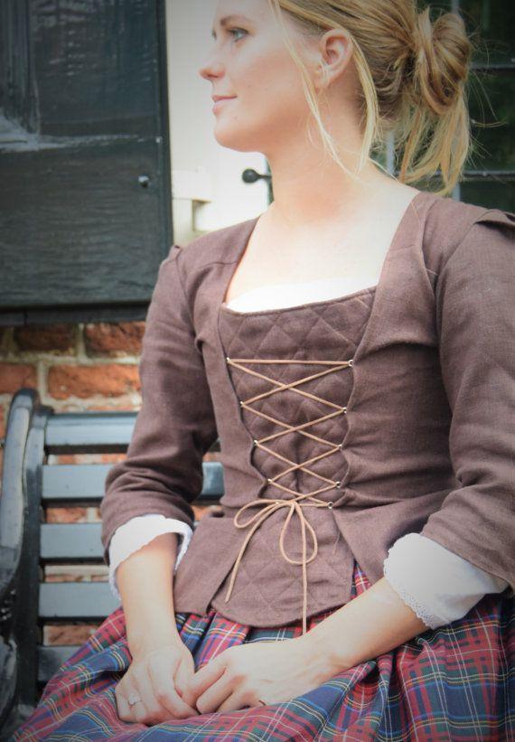 18te eeuwse linnen jasje - op maat gemaakt, kies maat, kies kleur
