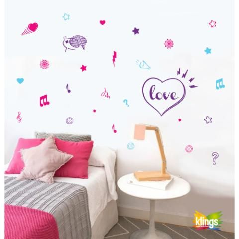 Vinilos Decorativos TEEN - Corazones, Notas Musicales, Nubes WALL STICKER DECOR