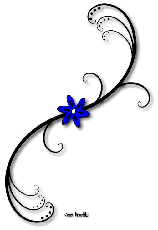 Small flower tattoos blue flower with vine tattoo by for Small flower designs