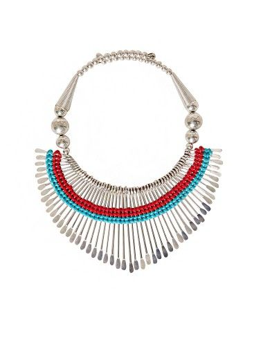 "Dream chaser silver necklace featuring a tribal inspired pendant with blue and red braided detailing. It has round silver beading and an open overlay closure. Add a touch of tribal cool to any summer outfit from maxi dresses to minimalist jumpsuits with this badass choker necklace. *6""/15cm width ,7.5""/19cm length"