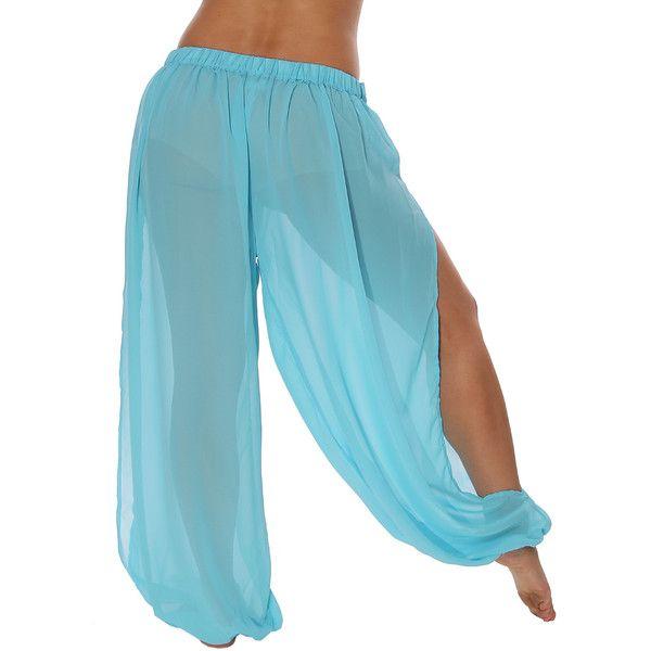 Belly Dancer Harem Pants ($23) ❤ liked on Polyvore featuring pants, blue pants, harem trousers, blue harem pants, blue trousers and harem pants