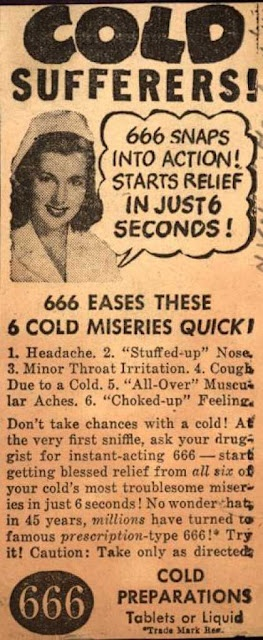 "...And a little something for those of you who worship the horned one! ""...instant-acting 666 - start getting blessed relief..."". Hm..."
