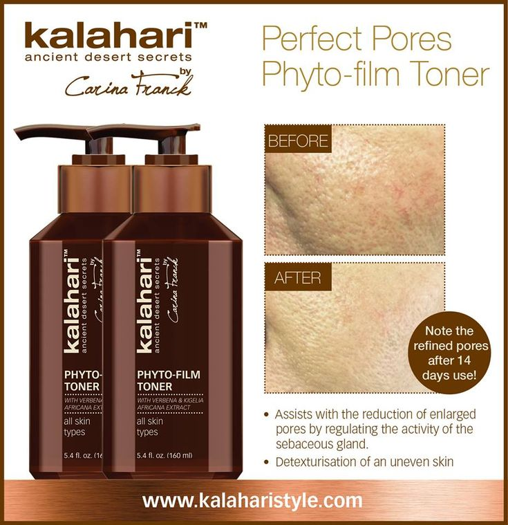 Perfect Pores!  Phyto-film Toner  The Kalahari Phyto-film Toner is a superior treatment toner with a combination of pro-active ingredients that accelerate the skins natural detoxification process and targets the appearance of uneven skin tone and enlarged pores. Spiraea Ulmaria Extract effectively regulates sebum secretion and visibly contracts and tightens dilated pores leaving the skins texture smooth, rejuvenated and clarified. #enlargedpores #detox