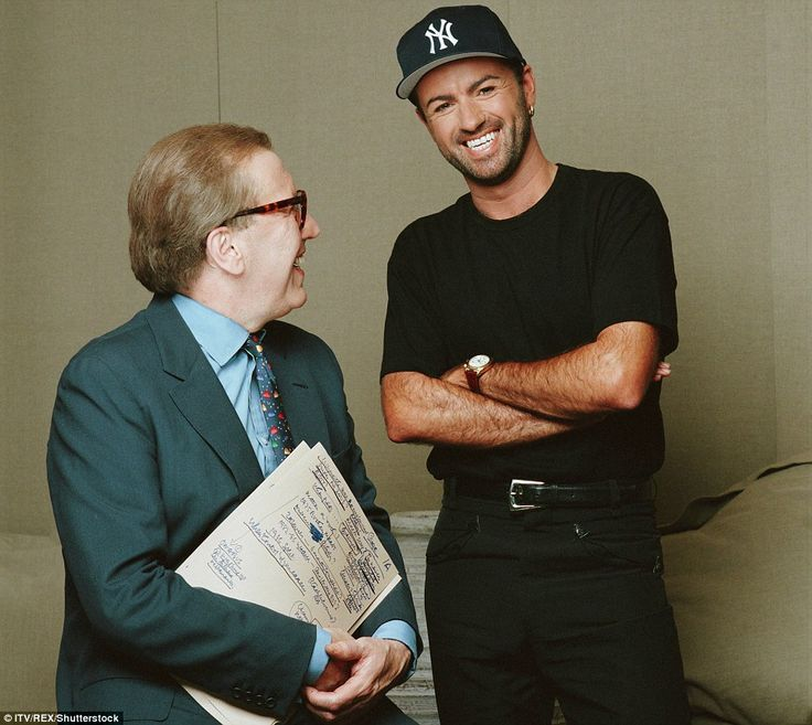 David Frost and George Michael - who was wearing a New York Yankees baseball hat - were pictured laughing together during the 1990s