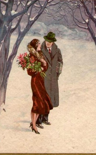Vintage Christmas Card by Adolfo Busi ~ Romantic Stroll in the Snow More …