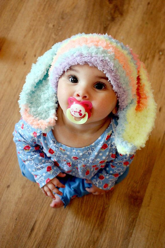 Summer Sale 2T to 4T Kids Hat Bunny Beanie Rainbow by BabaMoon, $26.00