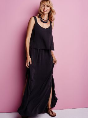 Maxi jurk met gelaagde top - Almost black