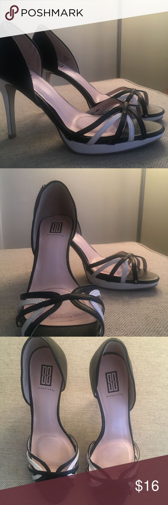 High heel *** PRICE NEGOTIABLE*** These shoes are about 3 1/2 inches tall. Black and white strappy accents on the toe and only worn twice. The bottoms are slightly worn but nothing crazy. Shoes Heels