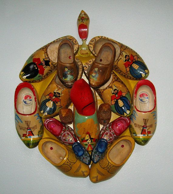 Vintage Wooden Shoes Collage Wall Folk Art OOAK, colorful, pop art, conversation piece, Original art