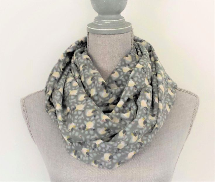 Infinity Scarf by Bakeapple Designs | Gray | Grey | Womens Scarf | Spring Scarf | Handmade | Gift Under 30