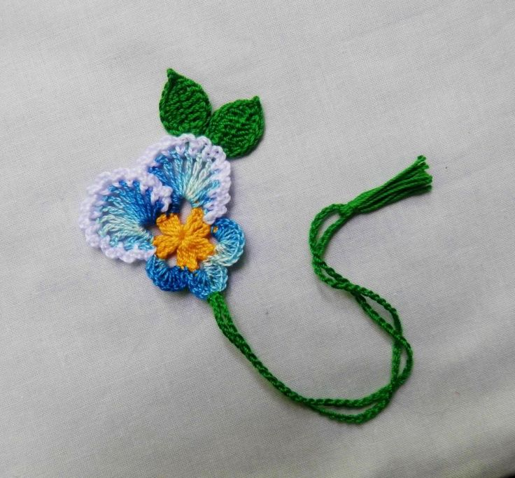 Crochet Blue Pansy Flowers Bookmark,Scrapbooking,Crafts,Supplies,Girls,Women
