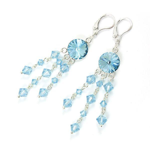 Aquamarine Swarovski crystals, long earrings.