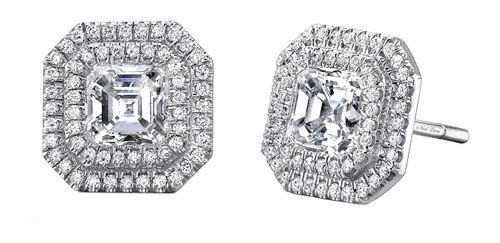 Neil Lane diamond and platinum earring set with two asscher cut diamonds, E02769