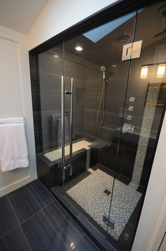 large scale black shower tiles