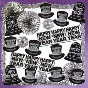 """Shimmering Silver New Year Decorating Kit. Kit includes 4 9' Metallic garlands, 4 18"""" Glittered N.Y. Bell Signs, 3 12"""" Metallic Star Balls, 3 24"""" Metallic star fans, 8 15"""" N.Y. top hat cutouts & 2 4' FP Metallic New Year Banners."""