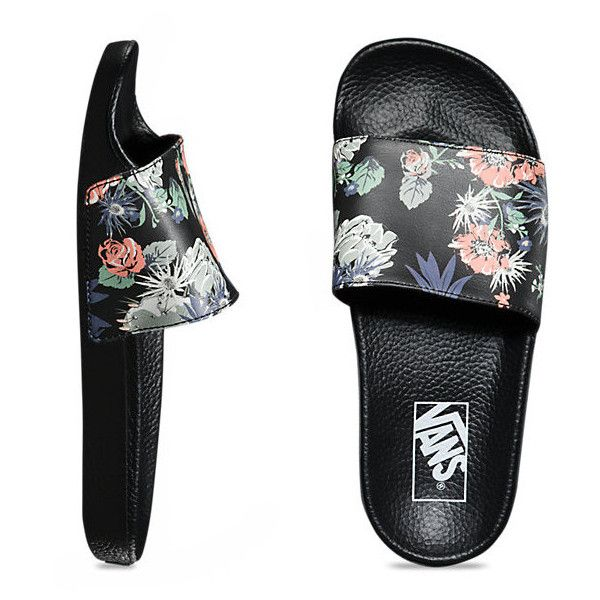 Womens Slide-On ($30) ❤ liked on Polyvore featuring shoes, sandals, desert floral black, black shoes, kohl shoes, floral print shoes, floral shoes and vans sandals